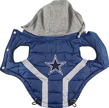 NFL Dallas Cowboys Licensed Dog Puffer Vest Coat - S - 3X