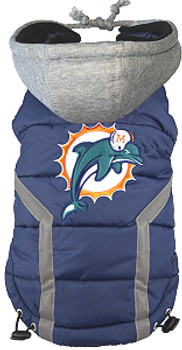 NFL Miami Dolphins Licensed Dog Puffer Vest Coat - S - 3X