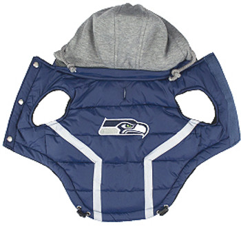 NFL Seattle Seahawks Licensed Dog Puffer Vest Coat - S - 3X