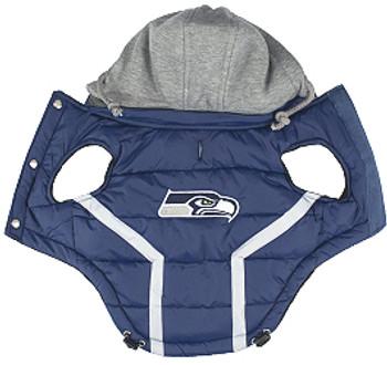 NFL Seattle Seahawks Licensed Dog Puffer Vest Coat - S - 3X