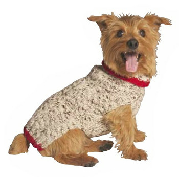 Oatmeal w/ Red Trim Knit Dog Sweaters