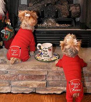 Santa's Lil' Helper Red Thermal Dog Pajamas