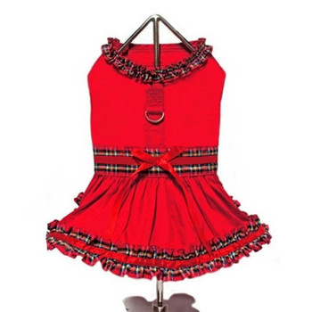 Red Tartan Plaid Holiday Dog Dress with Leash