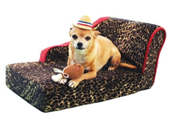 Leopard Chaise Lounge Dog Bed - Sangria by Pet Flys