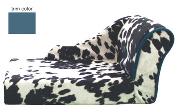 Cowprint Chaise Lounge Dog Bed - Turquoise by Pet Flys