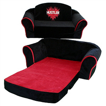 Black Hustler Pull Out Dog Sleeper Sofa - Red by Pet Flys