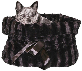 Furry Black Reversible Dog Snuggle Bug Dog Bed / Bag / Car Seat by Pet Fly's