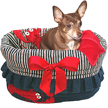 Denim & Stripes Lobster Reversible Dog Snuggle Bug by Pet Fly\'s