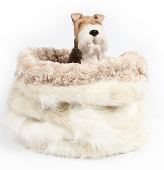 Cuddle Cup - Cream Fox w/ Camel Curly Sue by Susan Lanci Designs