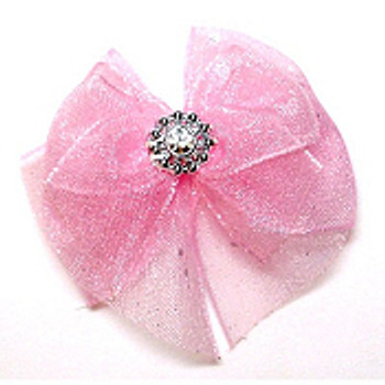 Dog Bows - Pink Lizzie Bow Barrettes