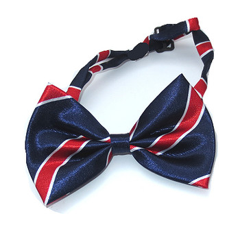 Blue, Red & White Stripe Dog Bow Tie