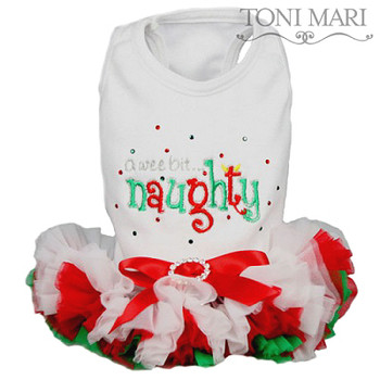 A Wee Bit Naughty White Christmas Dog Dress - Size Small