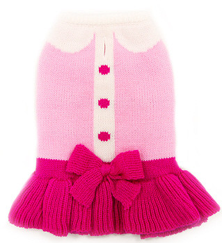 Cute Lady Knit Dog Sweater Dress