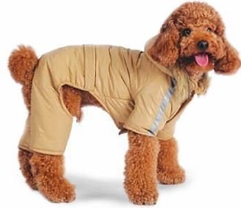 Bomber Fleece Lined Dog Jumper / Snowsuit - Beige