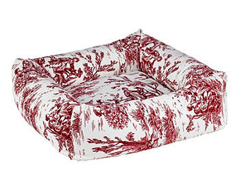 Raspberry Red Toile Microvelvet Dutchie Bed