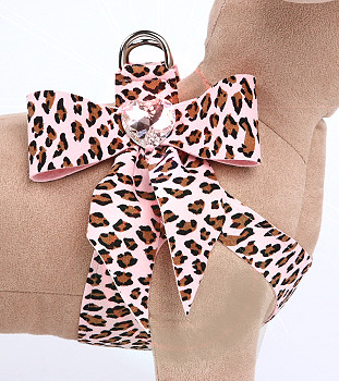 Pink Cheetah Couture Tail Bow Heart Step In Dog Harness by Susan Lanci