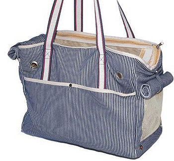 Big Nautical Blue Stripe Dog Tote Bag