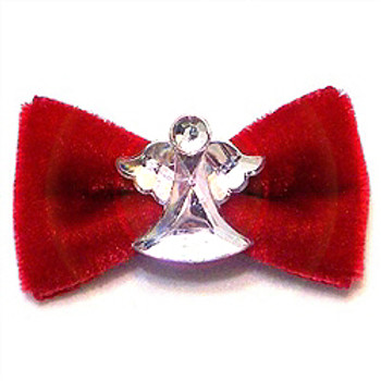 Velvet and Diamonds Christmas Angel Dog Hair Bow Barrette