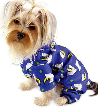 Blue Sleeping Sheep & Moons Cotton Dog Pajamas
