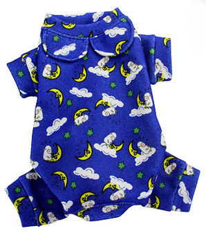 Blue Sleeping Sheep & Moons Cotton Dog Pajamas