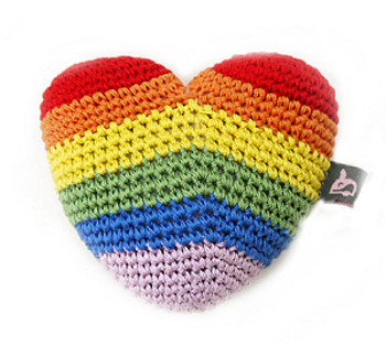 Rainbow Heart PAWer Squeaker Dog Toy