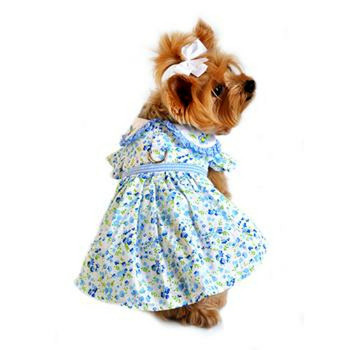 Blue Belle Floral & Gingham Dog Harness Dress