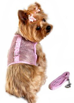 Pink Gingham and Bows Cool Mesh Netted Dog Harness & Leash
