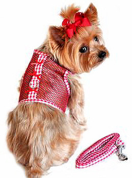 Red Gingham and Bows Cool Mesh Netted Dog Harness & Leash