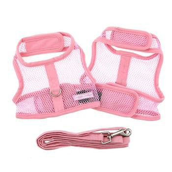 Solid Pink Cool Mesh Netted Dog Harness & Leash
