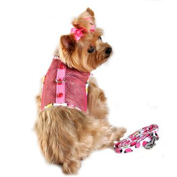 Lady Bug Pink Cool Mesh Netted Dog Harness & Leash