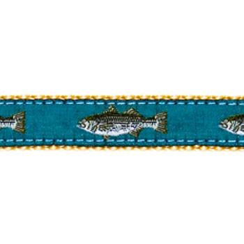 Dog Collar - Teal Striped Bass - 1 1/4