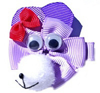 Purple Monkey Ribbon Dog Hair Bow