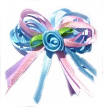 Pink & Baby Blue Rosette Ribbon Dog Hair Bow