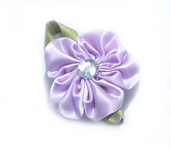 Lavender Flower Satin Ribbon Dog Hair Bow Barrette