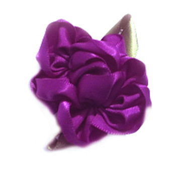 Purple Satin Flower Ribbon Dog Hair Bow Barrette