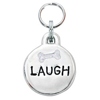 Pewter Engravable Laugh Pet ID Tag