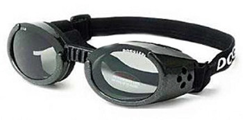 Metallic Black ILS Doggles with Light Smoke Lens Dog Sunglasses