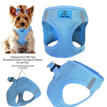 American River Choke Free Step In Dog Harness, Light Blue 1- 50 lbs