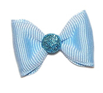 Dog Hair Bow Barrette - Bunny Tail Blue