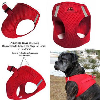 American River Choke Free Step In Dog Harness - Red - 1 - 50 lbs