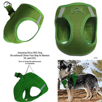 American River Choke Free Step In Dog Harness - Green - 1 - 50 lbs