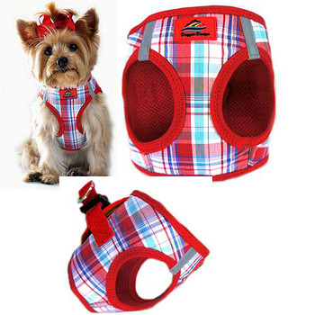 American River Choke Free Step In Dog Harness - Red / Turquoise Plaid