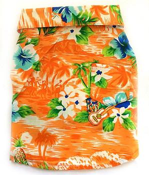 Orange Aloha Print Dog Shirts