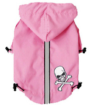 HD Puppagonia Skull Dog Rain Parka - Pink by Hip Doggie - Small