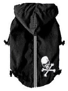 HD Puppagonia Skull Dog Rain Parka - Black by Hip Doggie - XS & Small