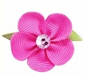 Fuchsia Pink Flower Ribbon Dog Hair Bow Barrette