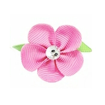 Pink Flower Ribbon Dog Hair Bow Barrette