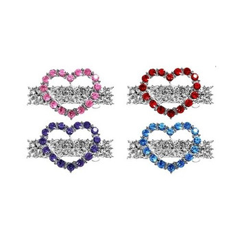 Rhinestone Heart Dog Hair Barrettes - Red, Pink, Blue, Purple