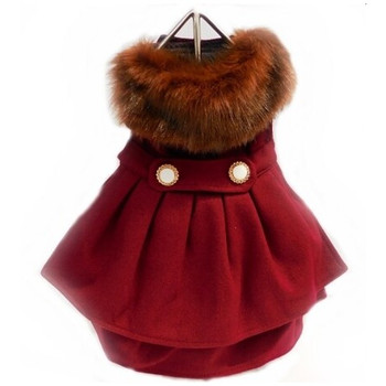Burgundy Wool Fur Collar Harness Dog Coat & Leash