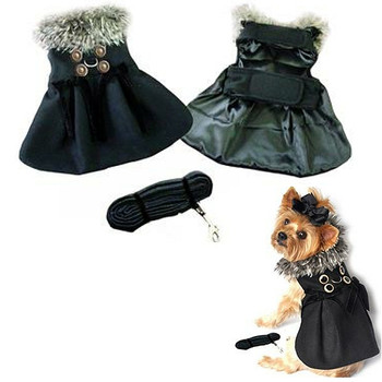 Black Wool w/ Silver Fur Collar Harness Dog Coat & Leash
